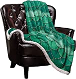 Cloud Dream Home Sherpa Fleece Throw Blanket Mermaid Scale Fish Scaled 50x80 inch Fluffy Plush Warm Blanket All Season Cozy Blanket for Baby Kids Adults Ombre Watercolor Green