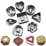 Juego de anillos de postre de acero inoxidable, 8 unidades, para tartas y mousse de tartas, moldes para hornear con empujador para hacer postres, color plateado