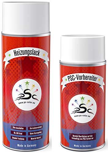 Penta Star Color Set 1: 400ml radiatorlak spray signaalgrijs RAL 7004 & 150ml metalen reiniger hittebestendig radiator radiator radiator radiator radiator radiator hittebestendig tot 300 graden nakleuren