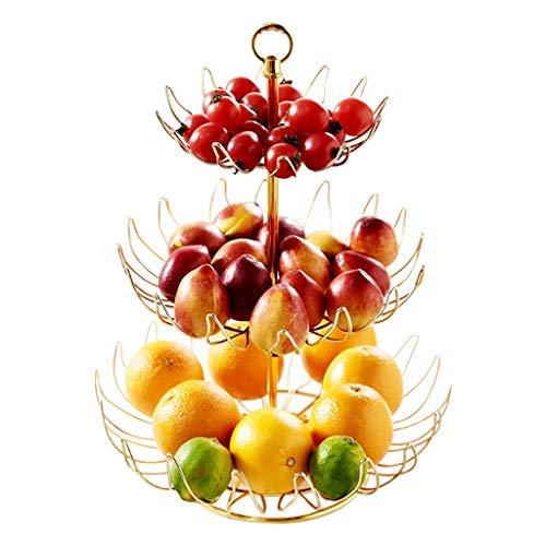 Liushop Frutero 3 Capas de la Placa Cesta de Frutas Cesta de Alambre Redondo de Frutas metálicos Verticales de Hogares de Almacenamiento de Mimbre for Contador de la Sala de KTV la Cesta de Fruta