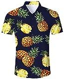 RAISEVERN 80's Retro Slim Fit Button Down Manga Corta Camiseta Hawaiana para Hombre Big Pineapple