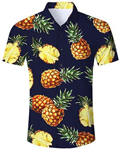 Goodstoworld Hawaiian Shirt Men's Pineapple Short Sleeve Black Casual Aloha Tropical Holiday 3D Print Tee Luau Top Beach Dress Shirts