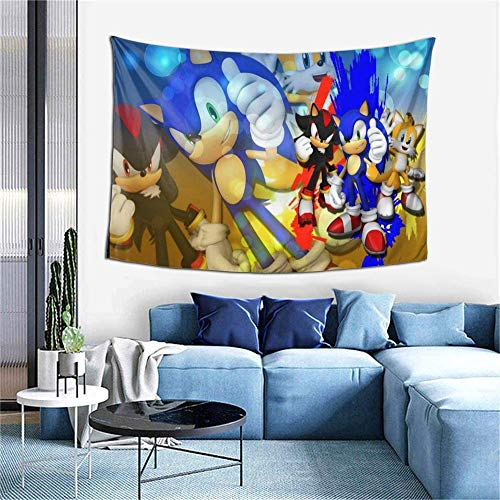 MYLZZ Dibujos animados Sonic The Hedgehog. Tapiz multifuncional para colgar en la pared, decoración del dormitorio, artistas de moda, decoración principal, regalo (estilo 5,150 cm x 200 cm)