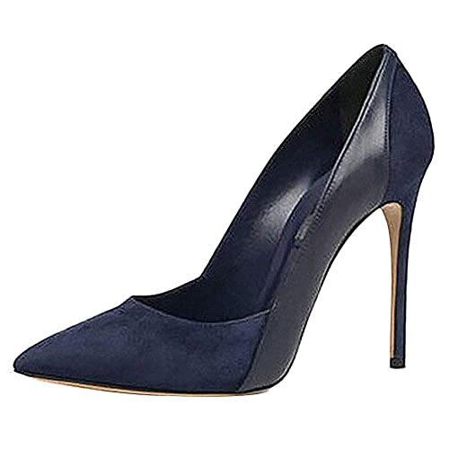f8816051e84 Themost Womens Suede Patent Leather Stitching High Heels Closed Pointy Toe  Stiletto Pumps Shoes Black