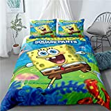 Alicebridal Anime 2 Piece Spongebob Soft Comforter Set with Pillowcases Twin Size Cartoon Bedding Sets for Kids Teens Duvet Cover Bed Set