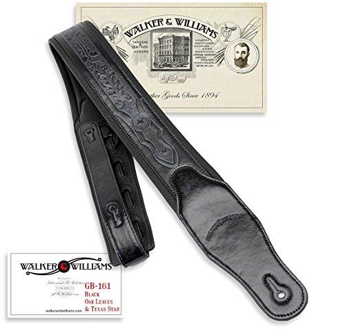 Walker & Williams GB-161 Black Padded Guitar Strap with Oak Leaves & Texas Star