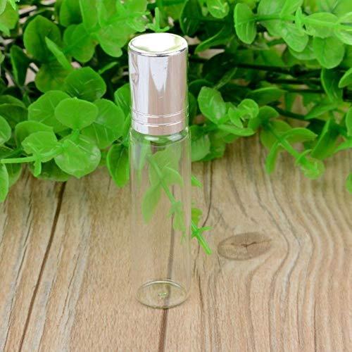 LASISZ Bouteille de Parfum en Verre à Bille d'huile Essentielle 10ML Femmes Lady Travel Clear Roller Bouteille Rechargeable, Argent, 10ml