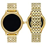 Diamante Watch Band for Fossil Q Venture Gen 3,18MM Crystal Rhinestone Diamond Stainless Watch Band for Q Venture and MK Sofie/Access Runway,Gold