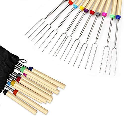 Roasting Sticks, 8 Pack Roasting Sticks with Wooden Handle 32 Inch Extendable BBQ Forks Telescoping Smores Sticks for Fire Pit, Campfire