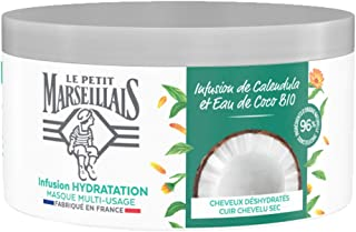 Le Petit Marseillais Masque Hydratation Intense pour Cheveux Secs et Abîmés, Infusion Calendula & Eau de Coco