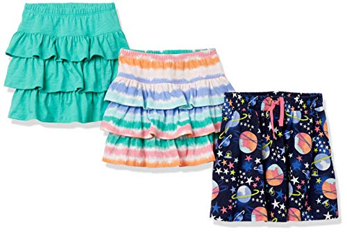 Spotted Zebra Girls' Knit Ruffle Scooter Skirts, 3-Pack Space Stripes, Small, Label: Small