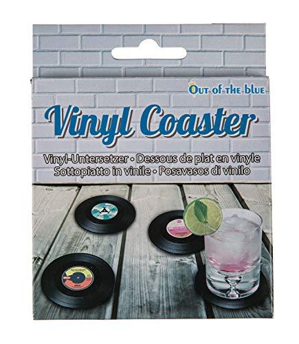 Out of the blue Untersetzer im Schallplatten Design, bietet Schutz vor Abdrücken, Flecken, Hitze und Kratzern, ca. 11 cm, 4er Set im Geschenkkarton, Kunststoff