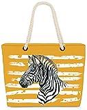 VOID XXL Strandtasche Zebra Shopper Tasche 60x38x16cm 36L Beach Bag Animal Jungle, Kissen Farbe:Gelb