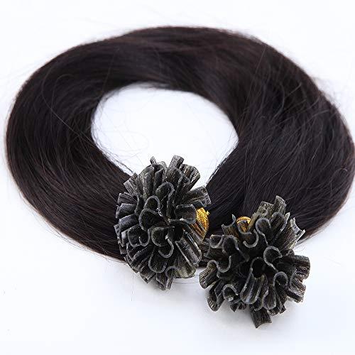Rajout Extensions Keratine Pose a Chaud Extension Cheveux Naturel 100 Mèches/50g #1B Noir naturel - 45cm