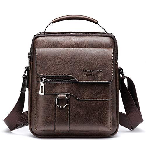 Men's messenger bag PU leather retro large capacity shoulder bag men's handbag travel backpack (Color : Dark brown)
