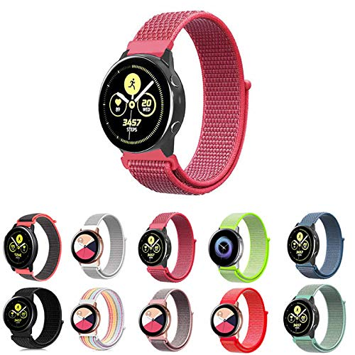 Pulseira Nylon Loop para Samsung Galaxy Watch Active 40mm e 44mm - Galaxy Watch 42mm BT - Gear S2 Classic - Gear Sport R600 - Amazfit Bip - Amazfit Gtr 42mm - Marca Ltimports (Pink)