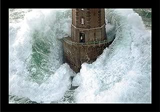 Buyartforless IF IC G544 2 Black Plexi Framed Jument Phares Dans La Tempete Lighthouse Photograph by Jean Guichard 27.5X18.5 Art Print Poster, 27.5
