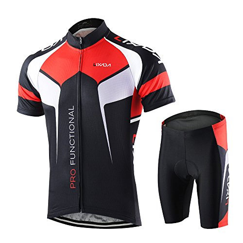 Lixada Men's Cycling Jersey Set Bicycle Short Sleeve Set Quick Dry Breathable Shirt+3D Cushion Shorts Padded Pants