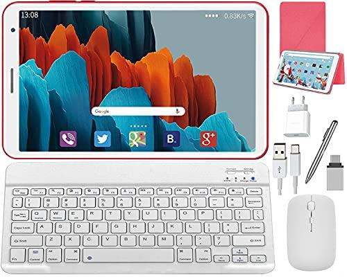 Tablette Tactile 8 Pouces Android 10.0 Tablettes, 3Go RAM 32Go ROM avec Clavier et Souris Stylet Tactile OTG Tablette PC Portable Pas Cher 128 Go Extensible, Quad Core, Bluetooth, WiFi (Rouge)