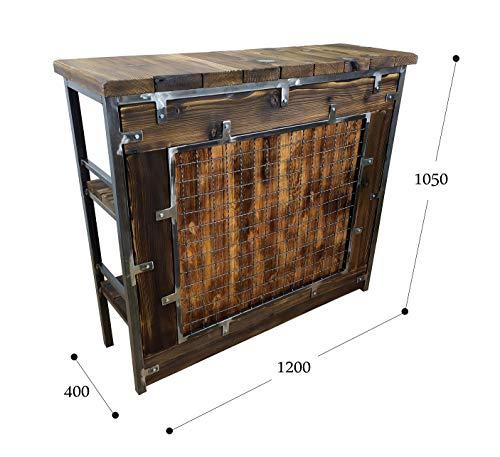 CHYRKA® Bartisch Stehtisch Barhocker Barstuhl BarMöbel SAMBOR Loft Vintage Bar Industrie Design Handmade Holz Metall (THEKE -120 cm) - 2