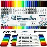 Pinselstift Set 24 Farben 0.4mm-2mm mit 2 verschiedenen Spitzen Bullet Journal Malstifte auf...