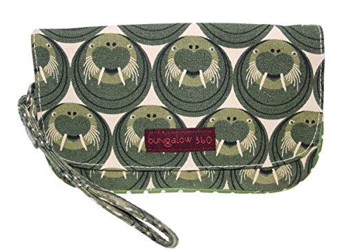 Bungalow 360 Vegan Natural Canvas Wristlet (walrus)