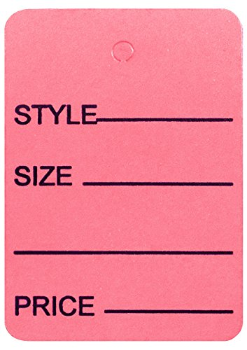 Amram Price Tags 1.25-in x 1.875-in Unstrung, Pink, Printed Style; Size; Price, 1,000 Tags