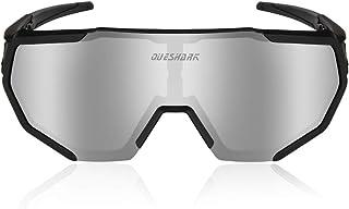 Queshark Gafas de Ciclismo Polarizadas con 3 Lentes Intercambiables Para Hombres Mujeres Correr Conducir Pesca Golf Béisbol Gafas de Sol