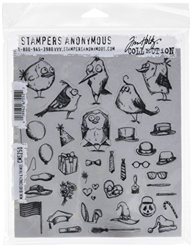 Stampers Anonymous Tim Holtz Klebestempel 7 x 8.5 Zoll Mini Verrückte Vögel und andere Dinge, Synthetic Material, Mehrfarbig, 24.5 x 19 x 0.5 cm