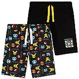 Pokemon Short Garçon, Lot de 2 Shorts en Coton avec Poches, Short Enfant Garçon et Ado 4 à 14 Ans (Noir, 11-12 Ans)