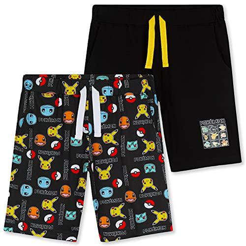 Pokemon Short Garçon, Lot de 2 Shorts en Coton avec Poches, Short Enfant Garçon et Ado 4 à 14 Ans (Noir, 4-5 Ans)