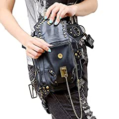 Malayas Steampunk Bag,Waist Bag/Shoulder Bag/Vintage Leather Shoulder Bag/Leg Bag Gothic Unisex, Black #5