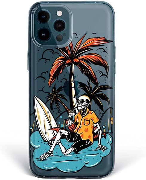 Bonito-Store Summer Vibe Case for iPhone 12 11 Pro Max 5S 6S XR XS X Cute Skeleton SE 2020 7 8 Plus Compatible with Samsung Galaxy S21 Ultra S8 S9 S10 + Surf Board S20 FE Palm Beach S10e Note 20 10 9
