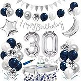 30.Geburtstag Dekoration Blau Silber,Happy Birthday Blau Geburtstag Party Deko Set,Riesen Folienballon,Nummerndekoration,Konfetti Luftballon,Konfetti Ballon Latexballons mit Happy Birthday Banner