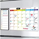 Calendario magnetico per frigorifero, cancellabile a secco, formato A3 2020, calendario mensile e lista oggi, lavagna bianca cancellabile con magnete posteriore, colore bianco per casa,cucina,ufficio