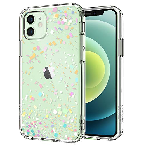 MOSNOVO iPhone 12 Pro Hülle, iPhone 12 Hülle, Buntes Konfetti Muster TPU Bumper mit Hart Plastik Hülle Durchsichtig Schutzhülle Transparent für iPhone 12 Pro/iPhone 12 6.1 Zoll