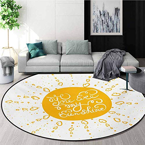 Best Price! RUGSMAT Quote Modern Washable Round Bath Mat,Rounded Sun Figure Rough Heart Shaped Beams...