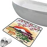Alfombra de baño antideslizante Naturaleza Área segura de alfombra de baño antideslizante suave Sakura Blossom Art con pétalos voladores Fans Bonsai Pagoda Mountain Rising Sun,rosa verde naranja Felpu