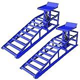 AUFUN Rampe di carico 2T con cric Idraulico, Piattaforma di Sollevamento, Rampe di carico Regolabili in Altezza, 2000 kg, Larghezza Pneumatici Fino a 225 per Auto e furgoni
