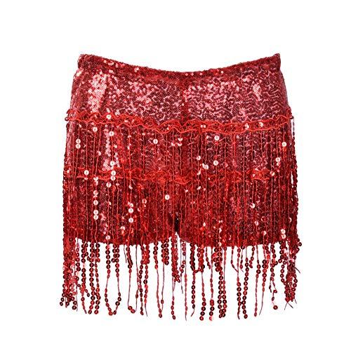 Hotpants Damen Pailletten Quaste Shorts Kostüm Tanzen Zumba Festival Regenbogen Gold Silber Grün Pink Gr. S, rot