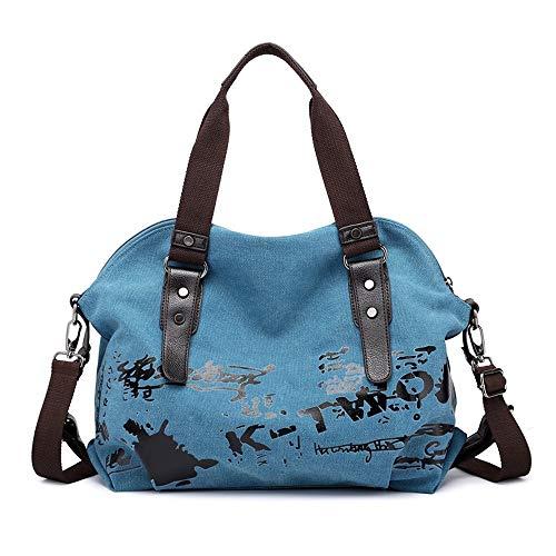 Women Shoulder Bags Casual Vintage Canvas Handbags Top Handle Tote Crossbody Shopping Bags Large-Capacity Bag (Color : Blue)