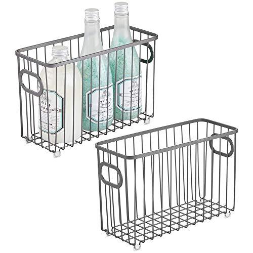 mDesign metalen badkamer opslag organizer mand Bin - boerderij draad raster ontwerp - voor kasten, planken, kasten, kasten, ijdelheid werkbladen, slaapkamers, onder wastafels - klein - chroom Pack of 2 Grafiet