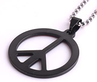 """LZD Stainless Steel Pendant 1.31X1.31 Inch Peace Sign Black Necklace 22"""" B24"""
