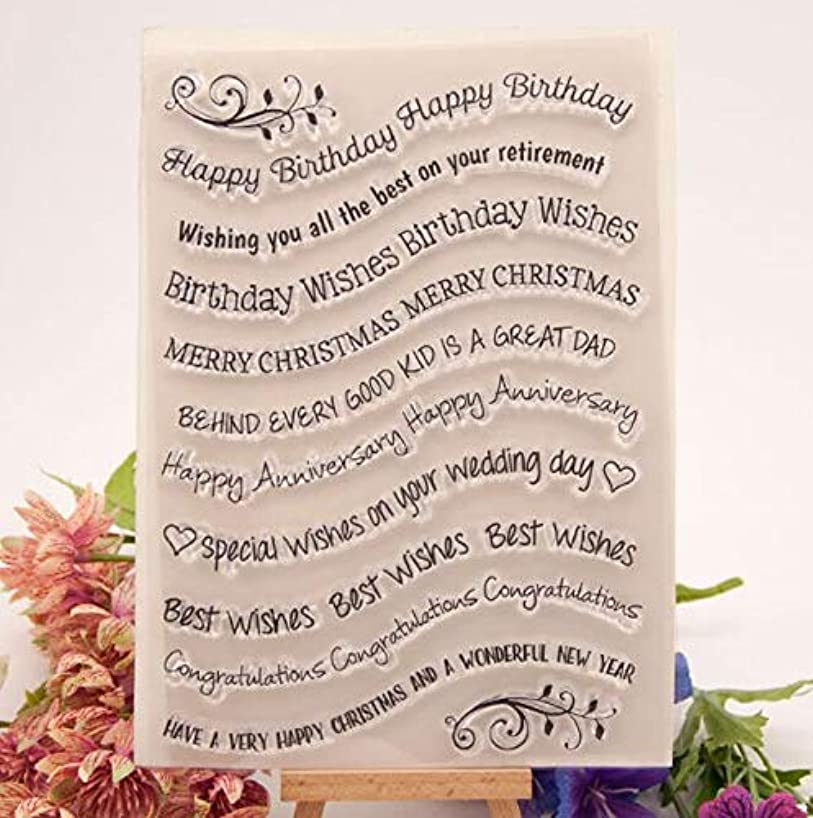 Welcome to Joyful Home 1pc Happy Birthday Sentiment Rubber Clear Stamp for Card Making Decoration and Scrapbooking