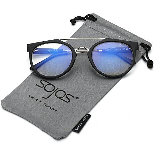 SojoS Schick classico retrò ponti metallici doppio specchio rotondo occhiali da sole per Uomo Donna SJ2032 con Nero Telaio/trasparenza Lente