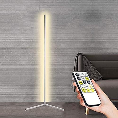 Lámpara de pie de esquina con control remoto LED blanco cálido sala de estar protección para los ojos lámpara de pie lámpara de mesa sala de estar dormitorio lámpara de ambiente moderno 140CM negro qu