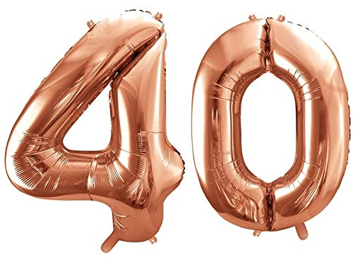 Ballon XXL en aluminium - Chiffre 40 en or rose - Décoration d'anniversaire pour 40e anniversaire / année / âge