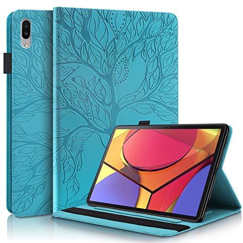 WHWOLF Funda para Lenovo Tab P11 Pro Carcasa TB-J706F (11.5') Tableta Hull Flip de Cuero PU Protectora Antichoque con Soporte Función de múltiples ángulos, Billetera-Azul