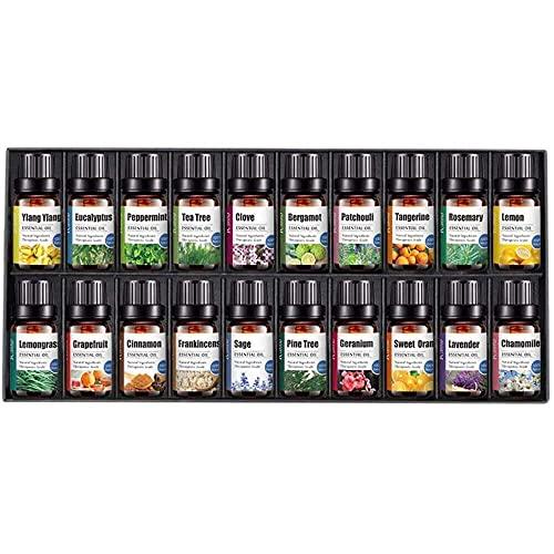 YuKeShop Ätherische Öle Aromatherapie 20 Stück – Premium-Qualität Aromatherapie ätherische Öle für Diffusor – 100% rein therapeutische Qualität wasserlösliches Öl Aroma