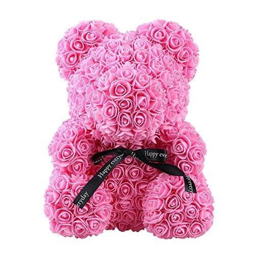 Greetuny 1x Oso de Rosas Gigante Dia de San Valentin Regalos romanticos Rosas de jabon Flor eterna Lindo Oso Muñeca (40cm Rosa)